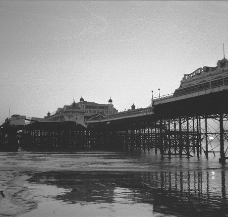 West Pier Brighton, 1970s. A black and white photo. | Sue Wood (photographer)