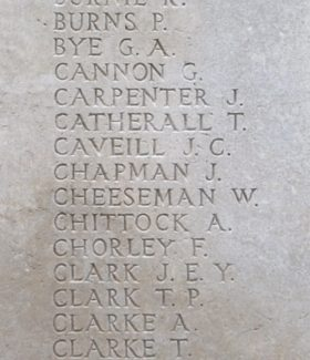 Private Chapman's name on the Tyne Cot Memorial | Billericay ATC