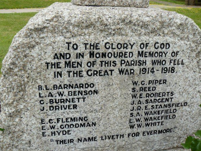Downham War Memorial - Front Panel