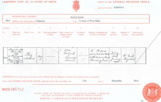 Birth Certificate (click to enlarge) | Dorothy Kew