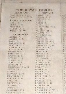 The panel on the Menin Gate showing Sgt. Barker's name | Billericay ATC