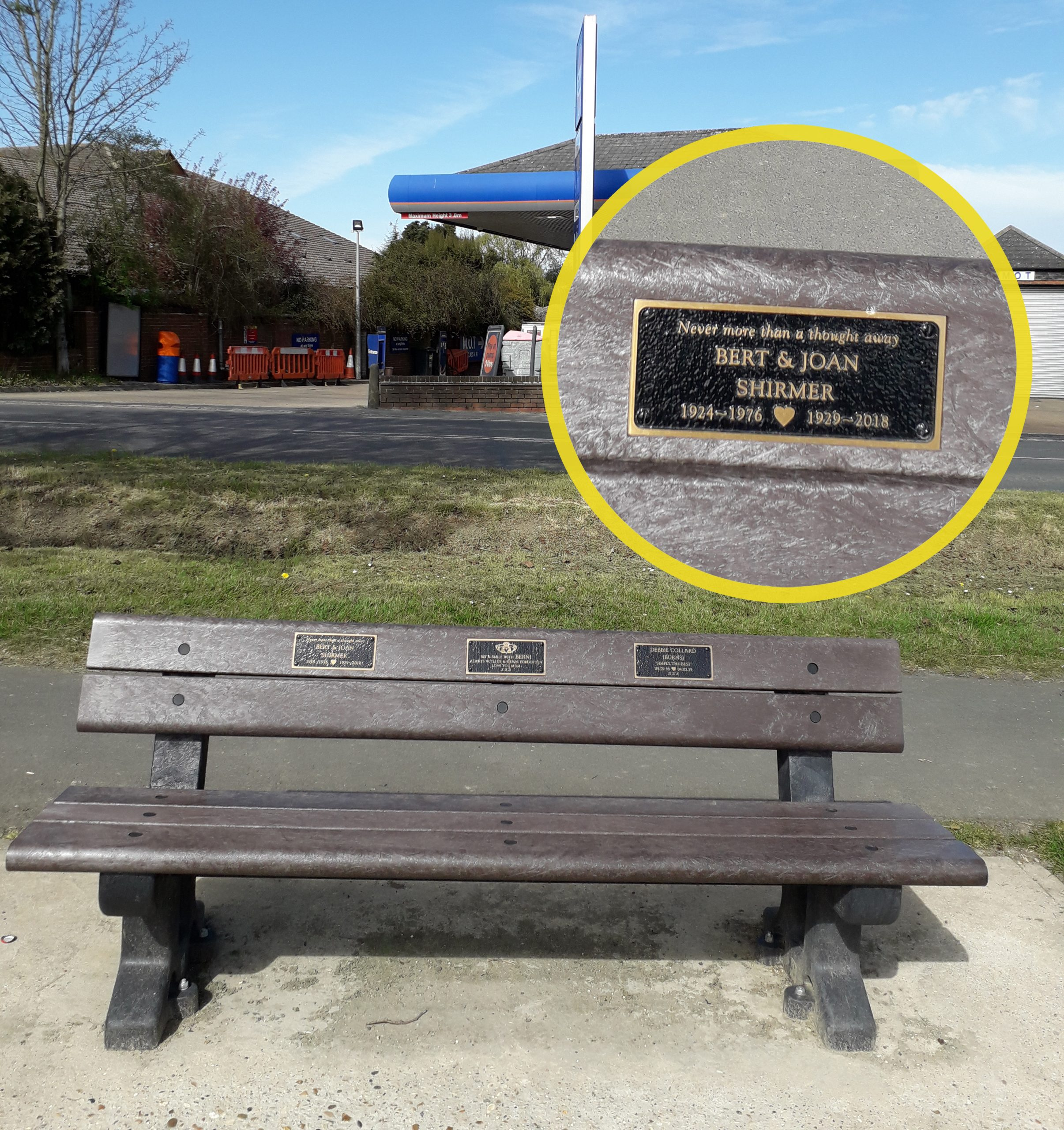 This bench with a dedication to Joan now sits on South Green across the road from where she lived.