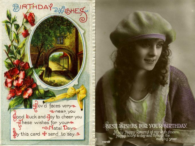 Birthday greetings card showing girl's face, a picturesque street and a message 'Best wishes for your birthday' - sample image only | David Phillips (photographer)