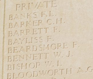 Panel on the Memorial showing Pte. Bayliss's name