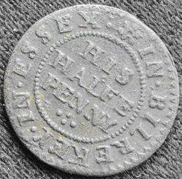 Centre wording: HIS HALFE PENNY with the surrounding wording IN.BILREKEY.IN.ESSEX | Photo: David Guest