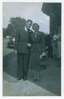 Hazel & Ernie Morley leaving for honeymoon at Billericay railway station 25th July 1953