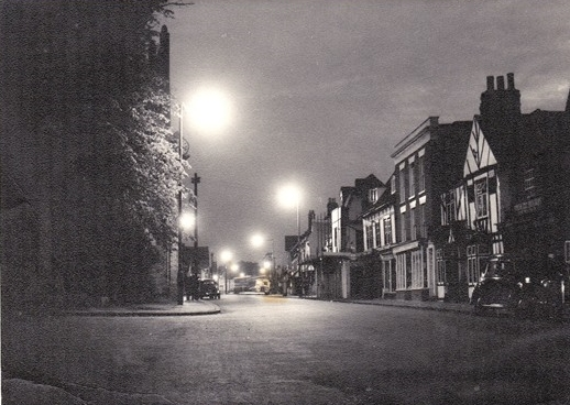 The High Street at night in the 1950s