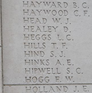 A panel on the Tyne Cot Memorial showing Private Hills's name | Billericay ATC