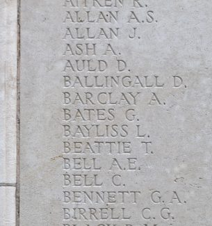 The panel on Tyne Cot Memorial showing Pte. Bayliss's name | Billericay ATC