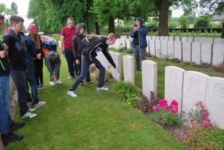 Members of Billericay Air Training Corps on a visit to WW1 battlefields in June 2014 at Major Webster's grave. | Billericay ATC