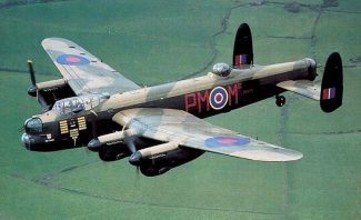 A Lancaster of the same type as the one Sgt. Terry flew in.