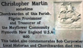 Plaque commemorating sailing of Mayflower in 1620