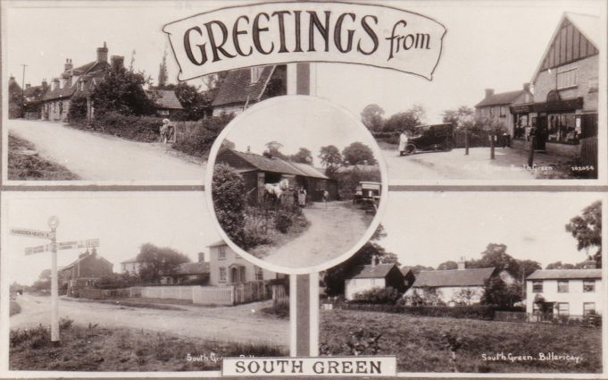 Postcard showing fie locations around South Green
