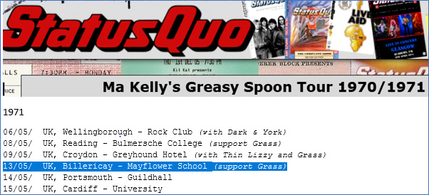Extract from the Ma Kelly's Greasy Spoon Tour listing showing the Mayflower date. | Detail from www.quogigography.net